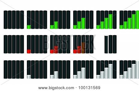 Vector Set Of Indicators. Progression, Fullness, Steps Or Phases. Vector Illustration.