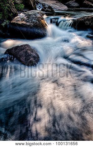 River Stream Flowing Over Rocks