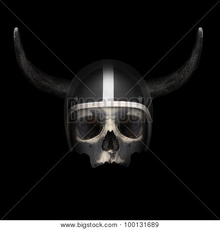 Retro motorcycle helmet with bull's long horns on the skull on black background.
