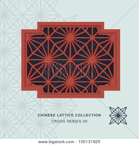 Chinese window tracery lattice cross frame 09 diamond flower
