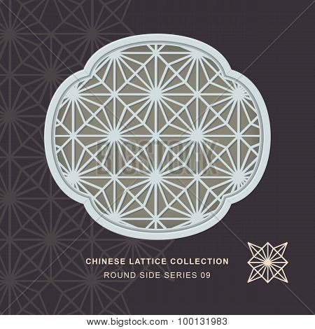 Chinese window tracery lattice round side frame 09 diamond flower
