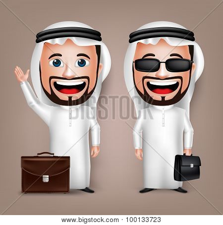 3D Realistic Saudi Arab Man Cartoon Character with Different Pose Holding Briefcase