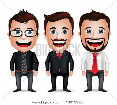 3D Realistic Businessman Cartoon Character with Different Business Attire