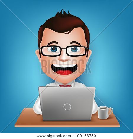 3D Realistic Busy Businessman Cartoon Character Sitting