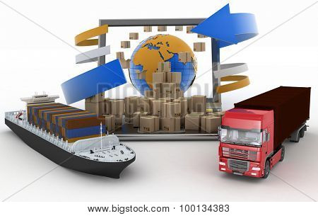 Cardboard boxes around the globe on a laptop screen, a cargo ship and truck. The concept of goods online orders around the world