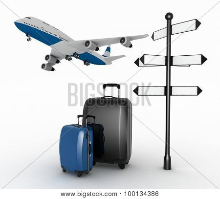 Signpost, suitcases and airplane. Travel concept.  3d render illustration on a white background.