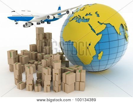 Cardboard boxes and airplane in the globe background. Concept transportation of goods worldwide