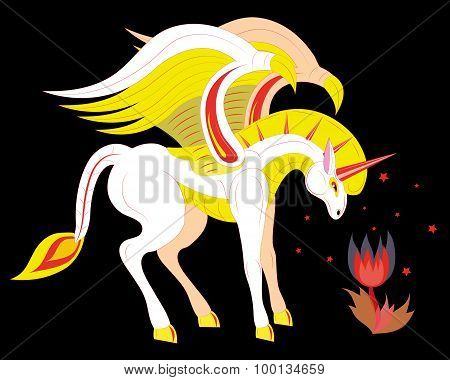 Unicorn and fiery flower