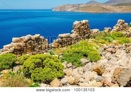 Beautify coast and quiet sea bay of Greek costline