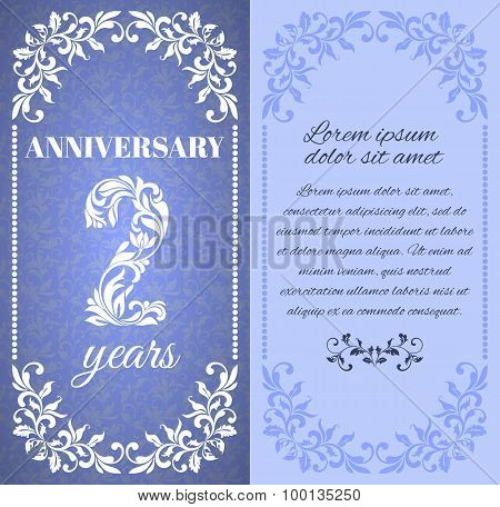 Luxury template with floral frame and a decorative pattern for the 2 years anniversary. There is a p
