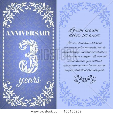 Luxury template with floral frame and a decorative pattern for the 3 years anniversary. There is a p
