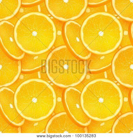 Orange juicy slice vector seamless pattern