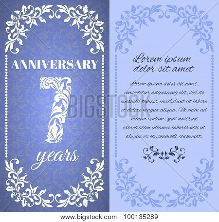 Luxury template with floral frame and a decorative pattern for the 7 years anniversary. There is a p