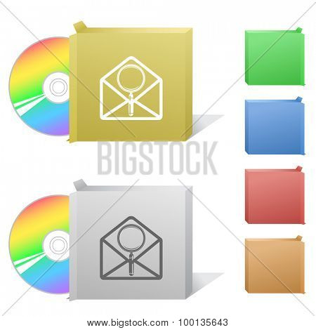 open mail with magnifying glass. Box with compact disc.