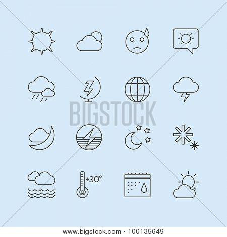 Weather icons outline set. Moon, sky, wind cloud, umbrella and wind. Calendar logo and weather forecast, snowflake, globe. App buttons