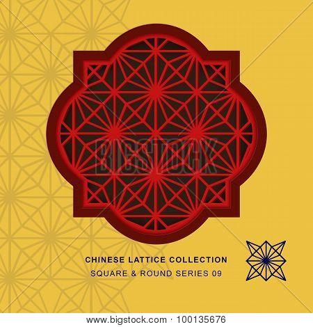 Chinese window tracery lattice square round frame 09 diamond flower