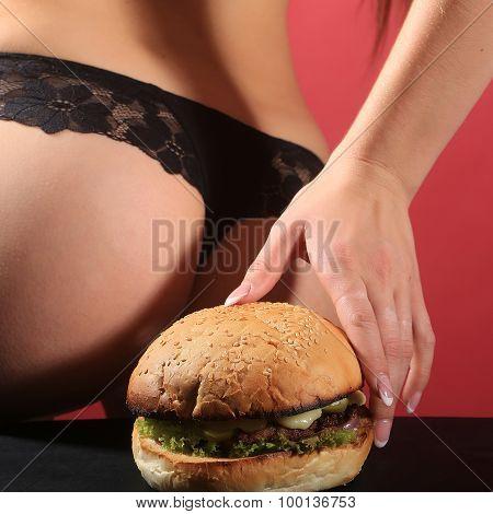 Female Bottom And Burger
