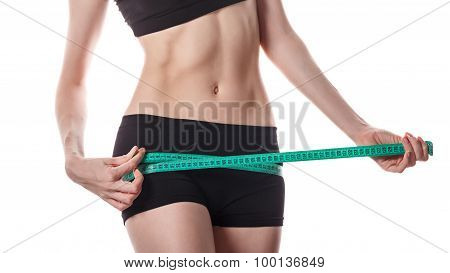 Girl Measuring Hip. Weight Loss.