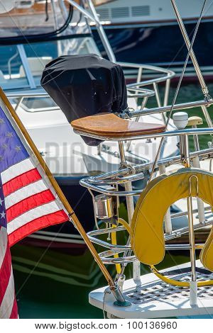 Boat Captains Seat With American Flag