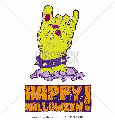 Card for Halloween with zombie hand