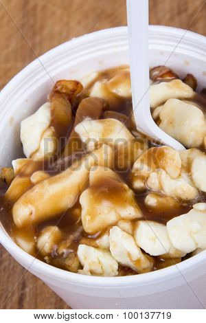 Poutine Canadian Fastfood Meal With French Fries