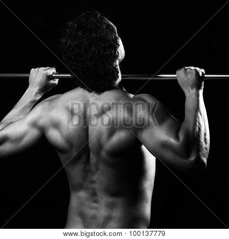 Muscular Guy Doing Chin-ups