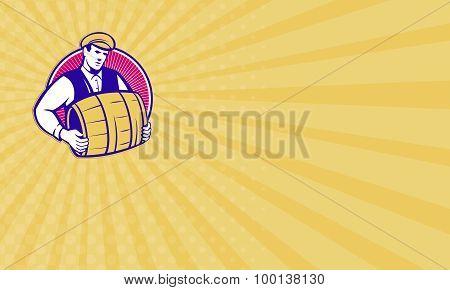 Business Card Bartender Carrying Beer Keg Retro