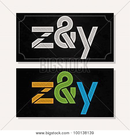 letter Z and Y logo alphabet chalk icon set background