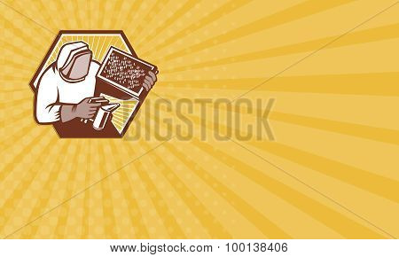 Business Card Beekeeper Apiarist Holding Bee Brood Retro