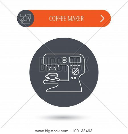 Coffee maker icon. Hot drink machine sign.