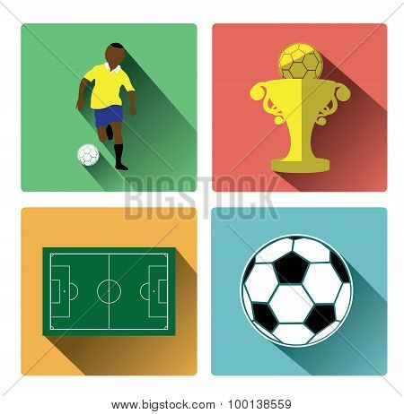 Modern flat soccer icons set with long shadow effect