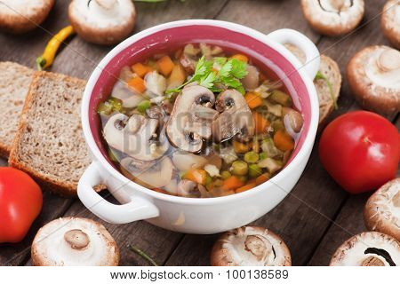 Clear portabello mushroom, vegetable and noodle soup
