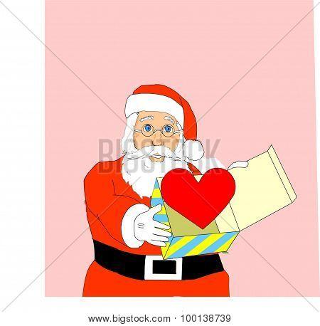 Santa and heart