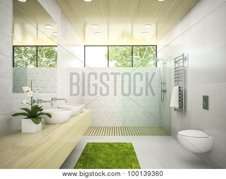 Interior of  bathroom with wooden ceiling 3D rendering