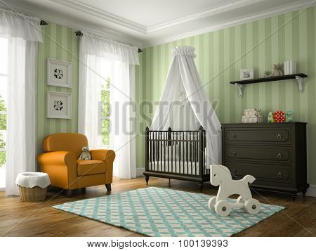 Classic children room with yellow armchair 3D rendering
