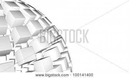 3D abstract advanced technology background. Fragmented sphere formed by glossy cubes with room for your info