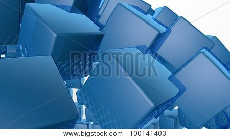 3D abstract advanced technology background. Glossy cubes with room for your info