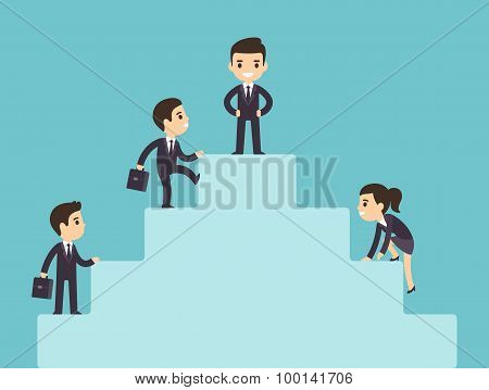 Business People Climbing Corporate Ladder