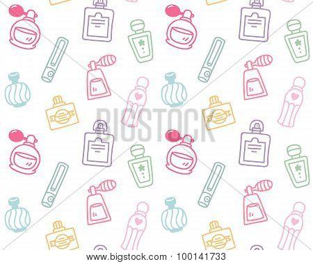Hand Drawn Perfume Bottles Seamless Pattern