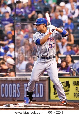 DENVER-AUG 21: New York Mets outfielder Michael Conforto waits in the on deck circle during a game against the Colorado Rockies at Coors Field on August 21, 2015 in Denver, Colorado.