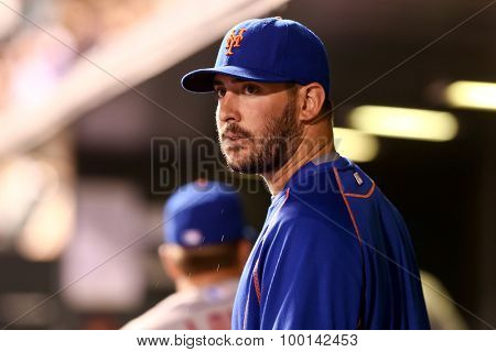 DENVER-AUG 21: New York Mets pitcher Matt Harvey in the dugout during a game against the Colorado Rockies at Coors Field on August 21, 2015 in Denver, Colorado.