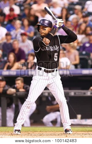 DENVER-AUG 21: Colorado Rockies outfielder Carlos Gonzalez waits for a pitch during a game against the New York Mets at Coors Field on August 21, 2015 in Denver, Colorado.