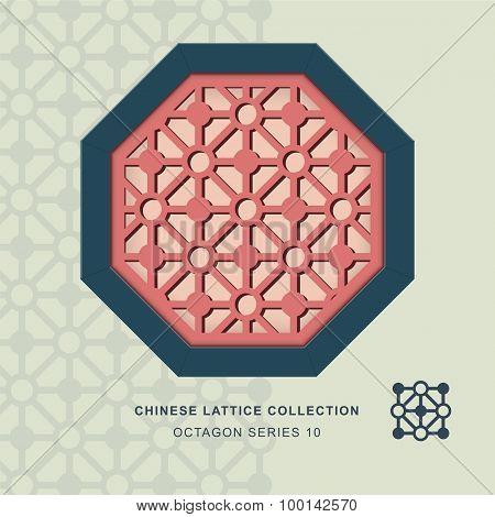 Chinese window tracery lattice octagon frame 10 diamond circle