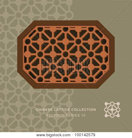 Chinese window tracery lattice polygon frame 10 diamond circle
