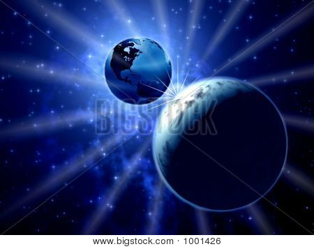 Space. Moon And Earth