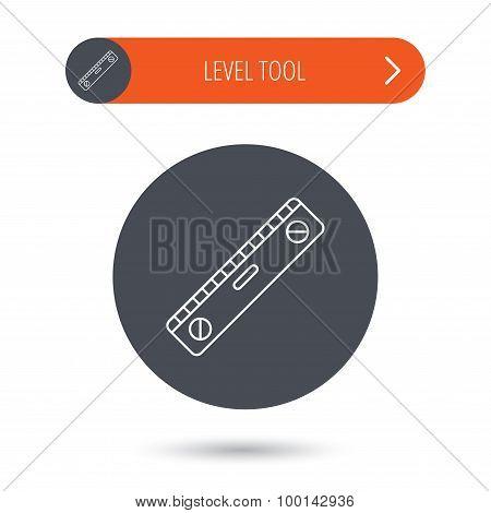 Level tool icon. Horizontal measurement sign.
