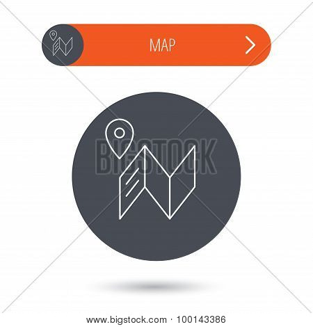Map icon. GPS navigation with pin sign.