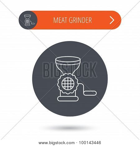Meat grinder icon. Manual mincer sign.