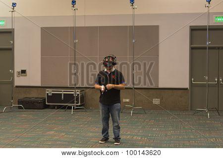 Guy Tries Virtual Glasses Headset