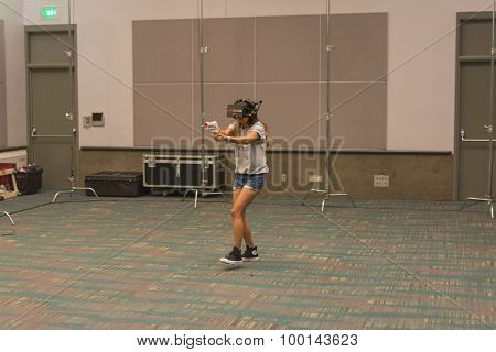 Woman  Tries Virtual Glasses Headset